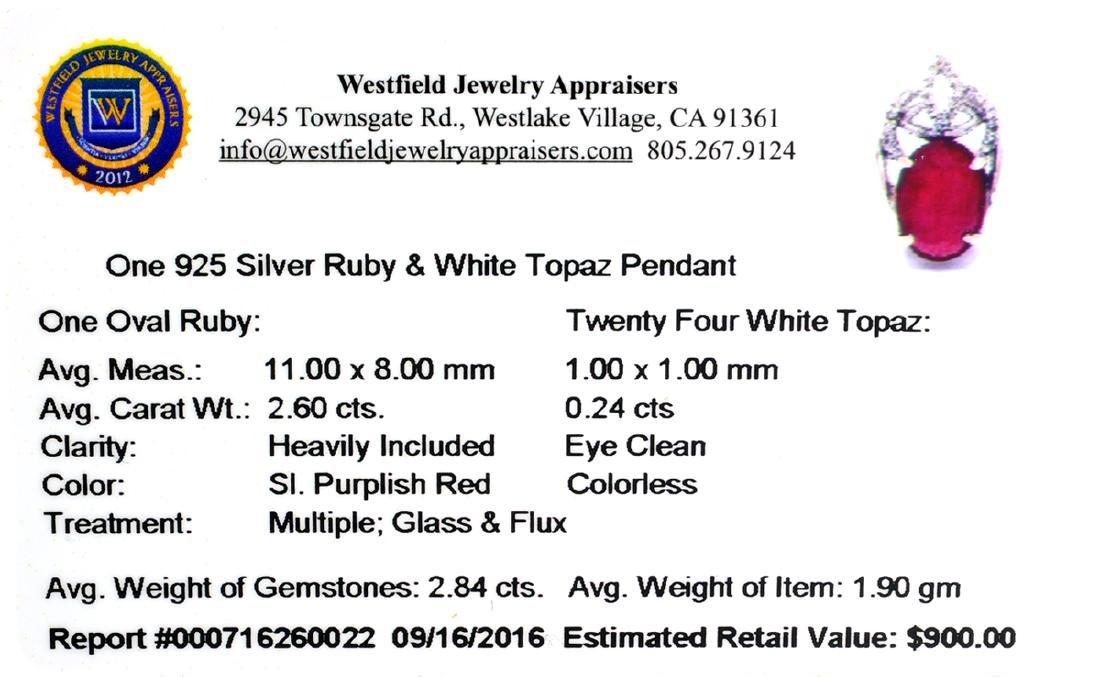APP: 0.9k Fine Jewelry 2.84CT Ruby And White Topaz - 2