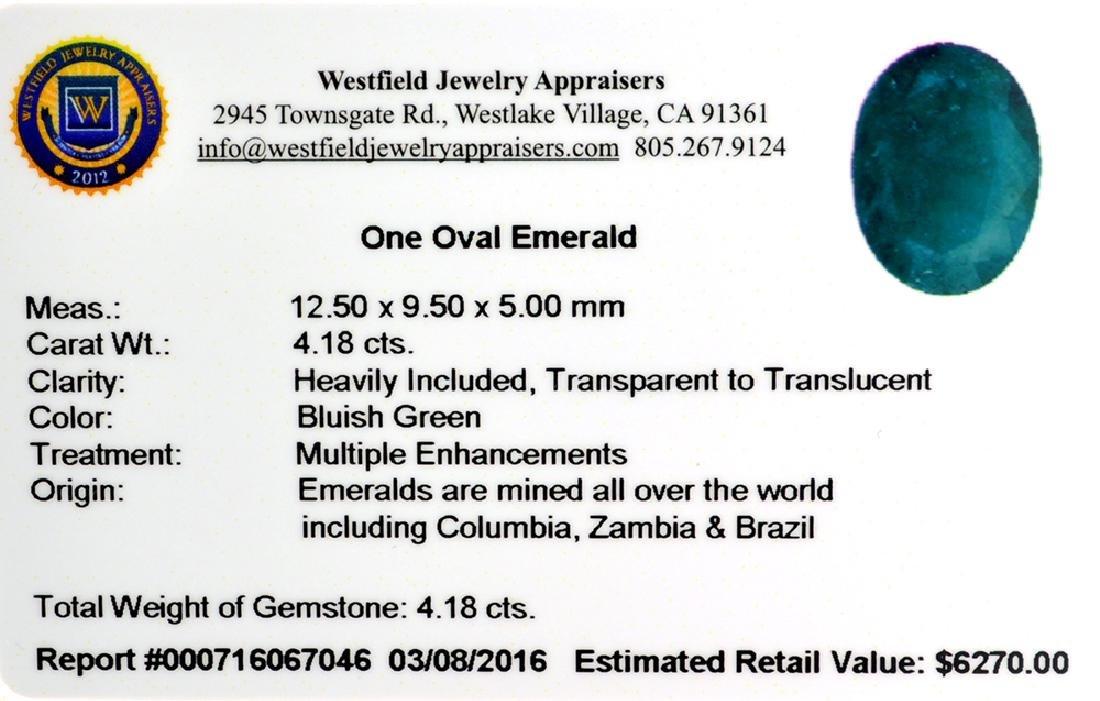 APP: 6.3k 4.18CT Oval Cut Green Emerald Gemstone - 2