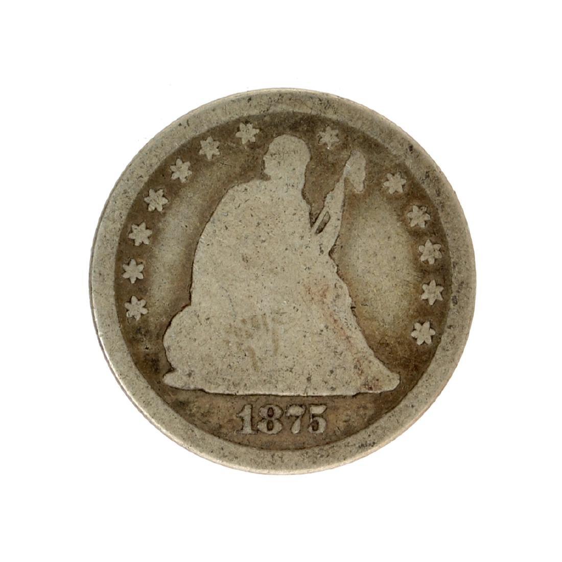 1875 Liberty Seated Quarter Dollar Coin