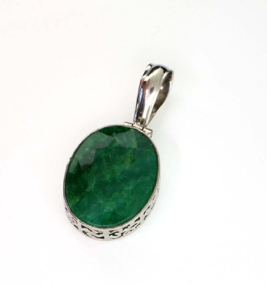 APP: 1.1k 21.96CT Oval Cut Green Beryl and Sterling