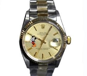 *mickey Mouse Design Rolex Oyster Perpetual Date