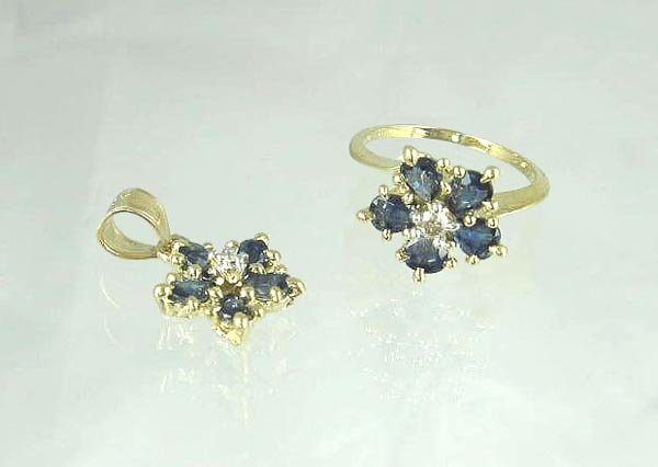 3000: 14 kt. Gold, Sapphire and Diamond Ring and Pendan