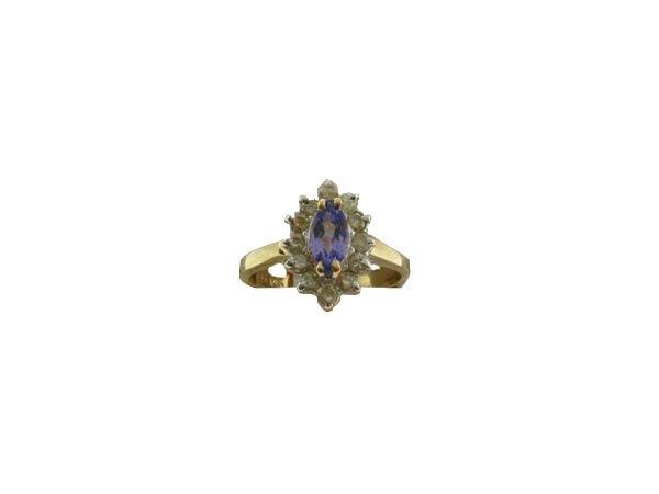 3014: GOV: 14 kt. Gold, Marquise Tanzanite and Diamond