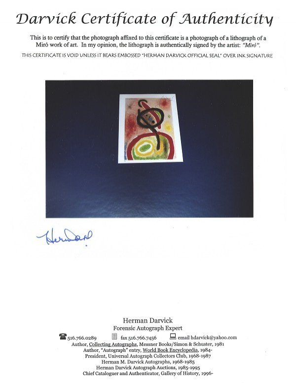 3026: N.R.! GOV: Miro, Hand Signed Book Photo, INVESTME