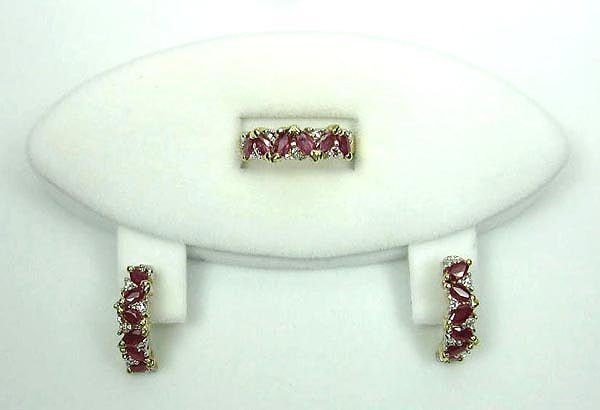 3347: GOV: 14 kt. Gold, Ruby and Diamond Ring and Earri