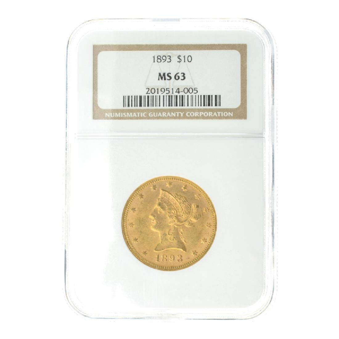 *1893 $10 U.S. MS 63  Liberty Head Gold Coin (DF)