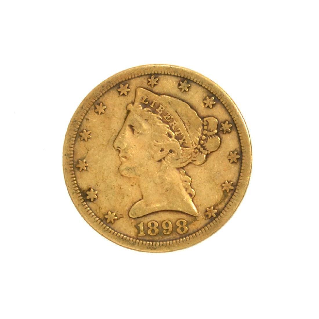 1898-S $5 U.S. Liberty Head Gold Coin (DF)