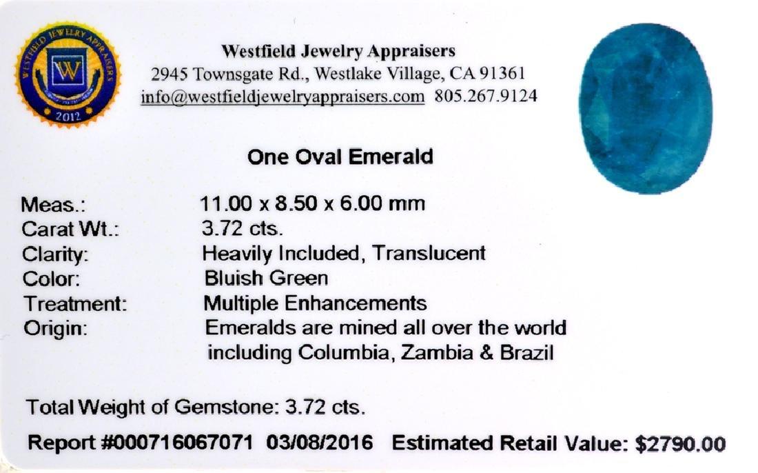 APP: 2.8k 3.72CT Oval Cut Green Emerald Gemstone - 2