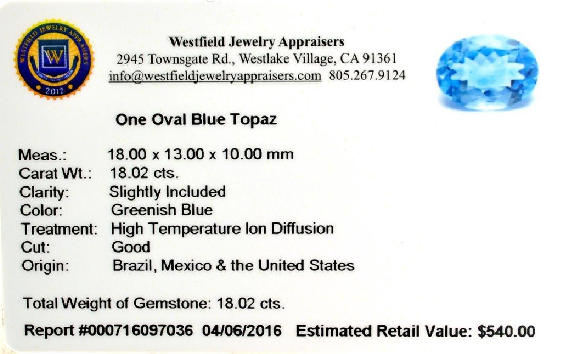 APP: 0.5k 18.02CT Oval Cut Blue Topaz Gemstone - 2