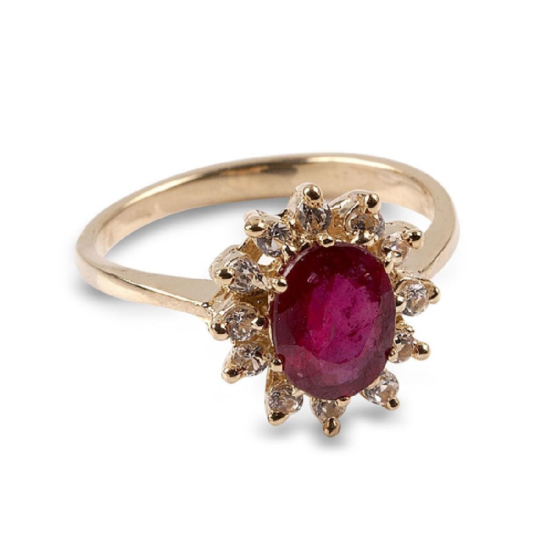 APP: 1.5k 14 kt. Gold, 1.81CT Ruby And Whte Sapphire