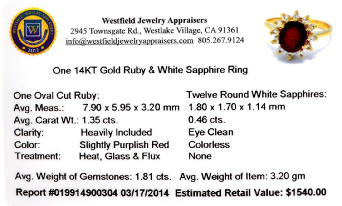 APP: 1.5k 14 kt. Gold, 1.81CT Ruby And Whte Sapphire - 2