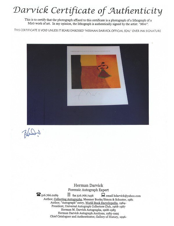 414: Miro, Queen Louise of Prussia Hand Signed Book Pho