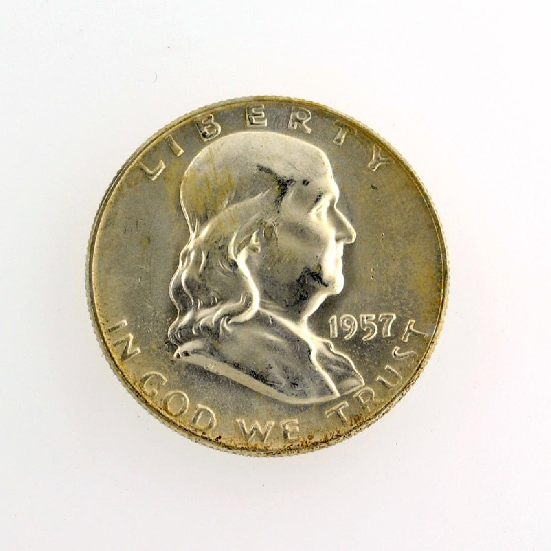 1957-D Franklin Liberty Bell Half Dollar Coin
