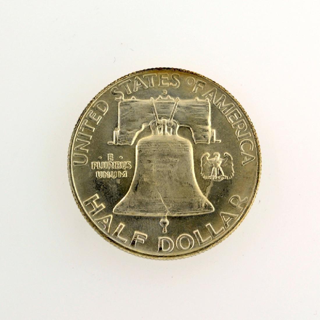 1957-D Franklin Liberty Bell Half Dollar Coin - 2