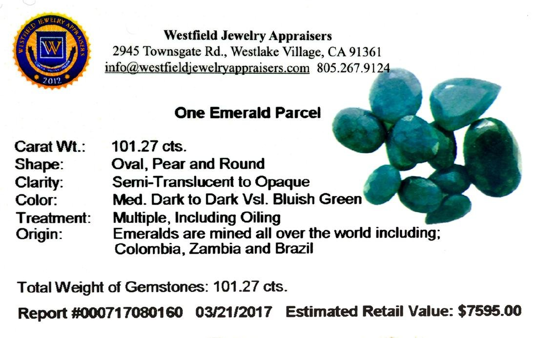 APP: 7.6k 101.27CT Various Shapes Green Emeral Parcel- - 2