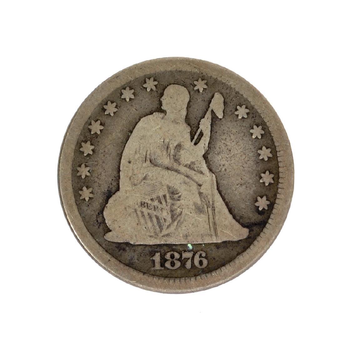 1876 Liberty Seated Quarter Dollar Coin