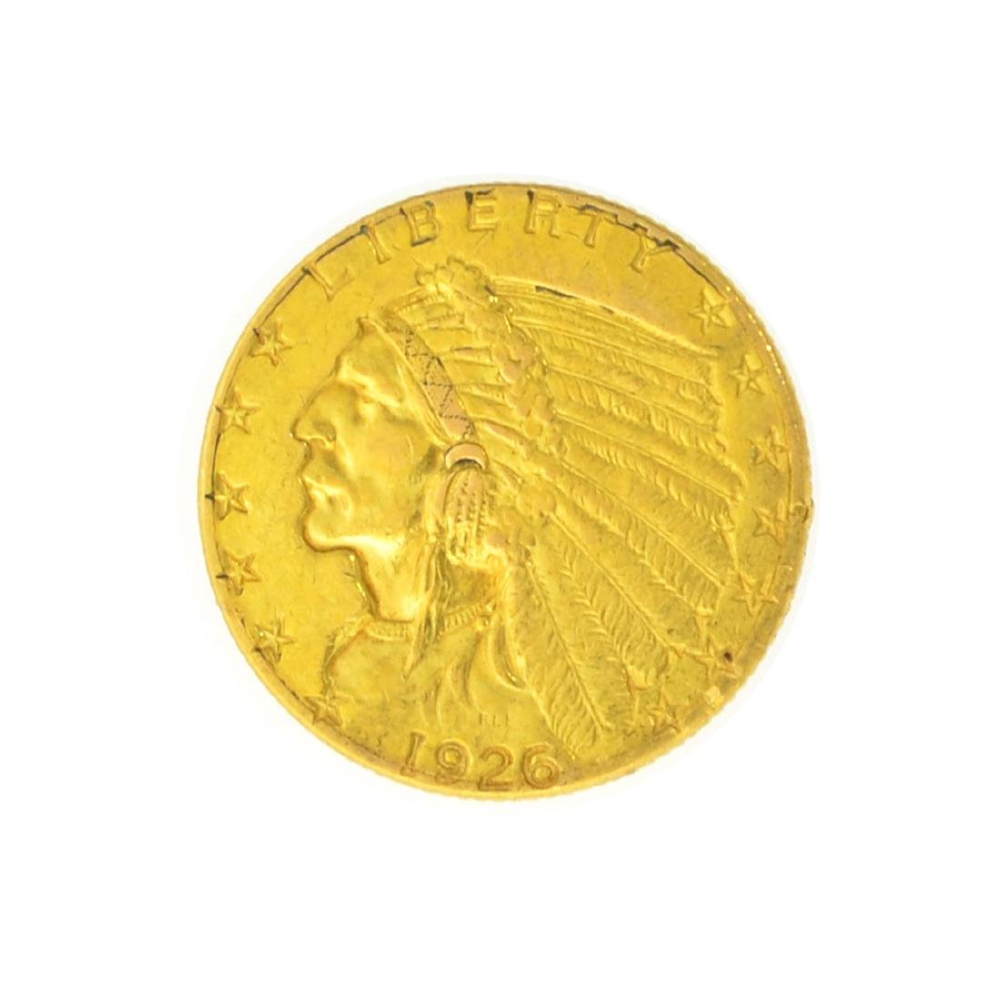 1926 $2.50 U.S. Indian Head Gold Coin - Great