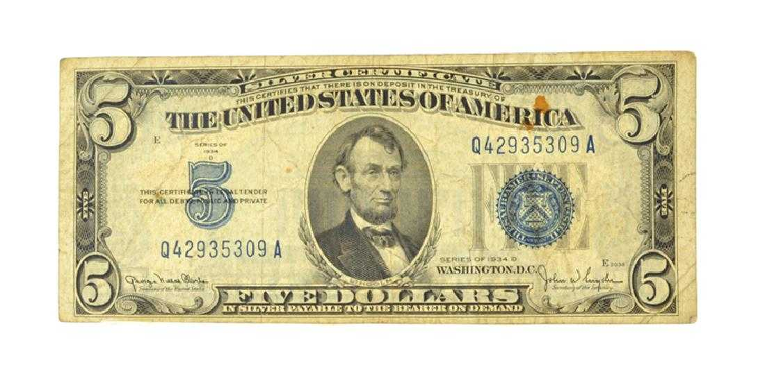 1934 5 Blue Seal Silver Certificate