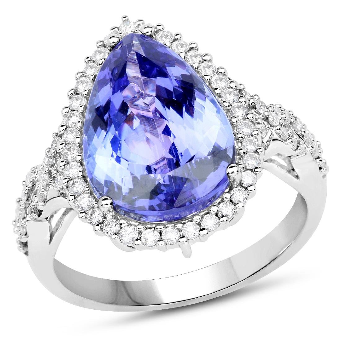 *14 kt. White Gold, 5.83CT Pear Cut Tanzanite And