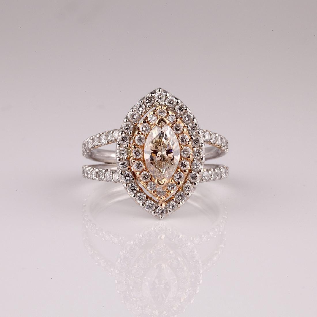 APP: 19.5k *14 kt. White/Rose Gold, 1.75CT Diamond Ring