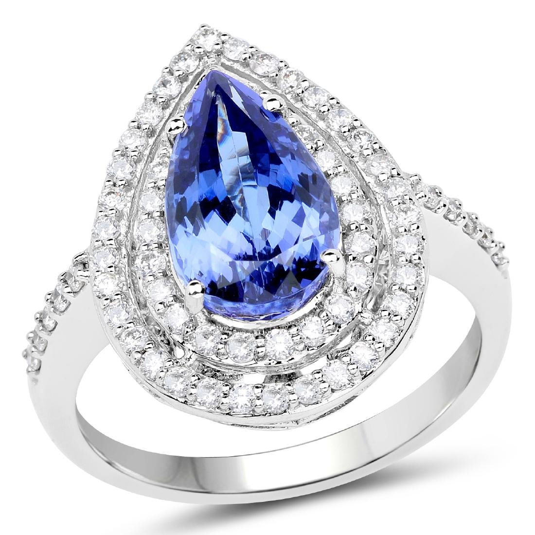 *14 kt. White Gold, 3.32CT Pear Cut Tanzanite And