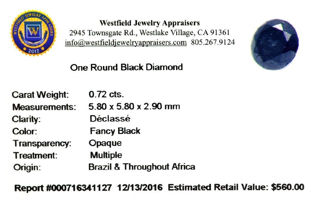 APP: 0.6k 0.72CT Round Cut Black Diamond Gemstone - 2