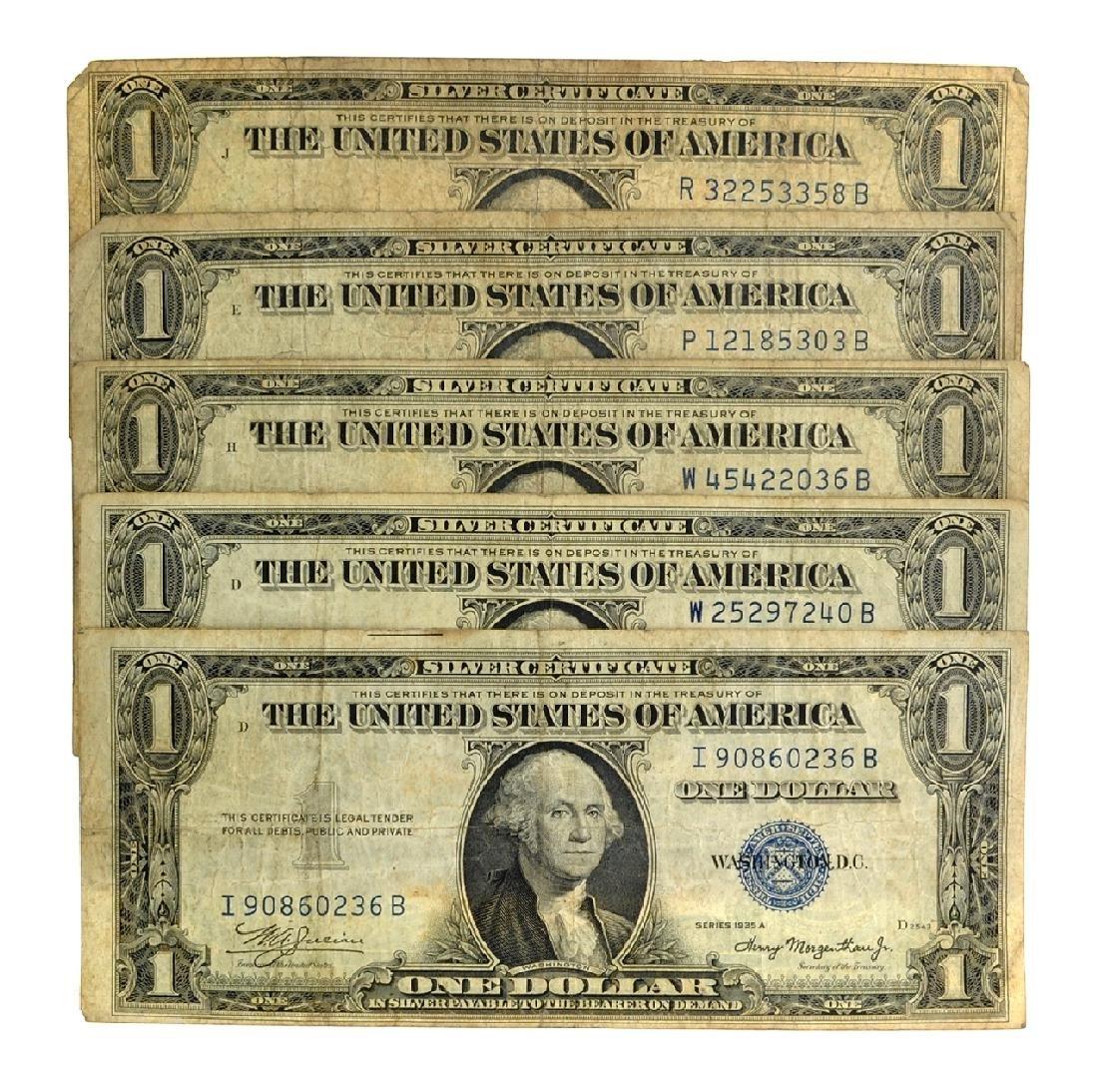 Rare (5) 1935 $1 U.S. Silver Certificates