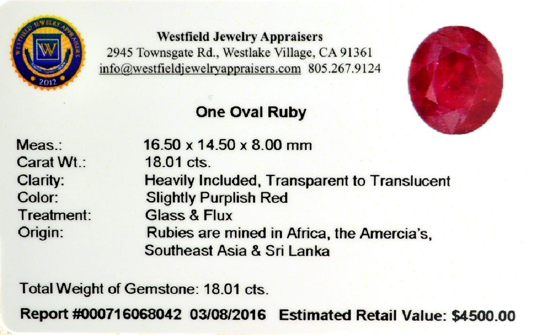 APP: 4.5k 18.01CT Oval Cut Ruby Gemstone - 2