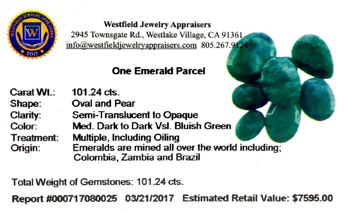 APP: 7.6k 101.24CT Oval/Pear Green Emeral Parcel - - 2