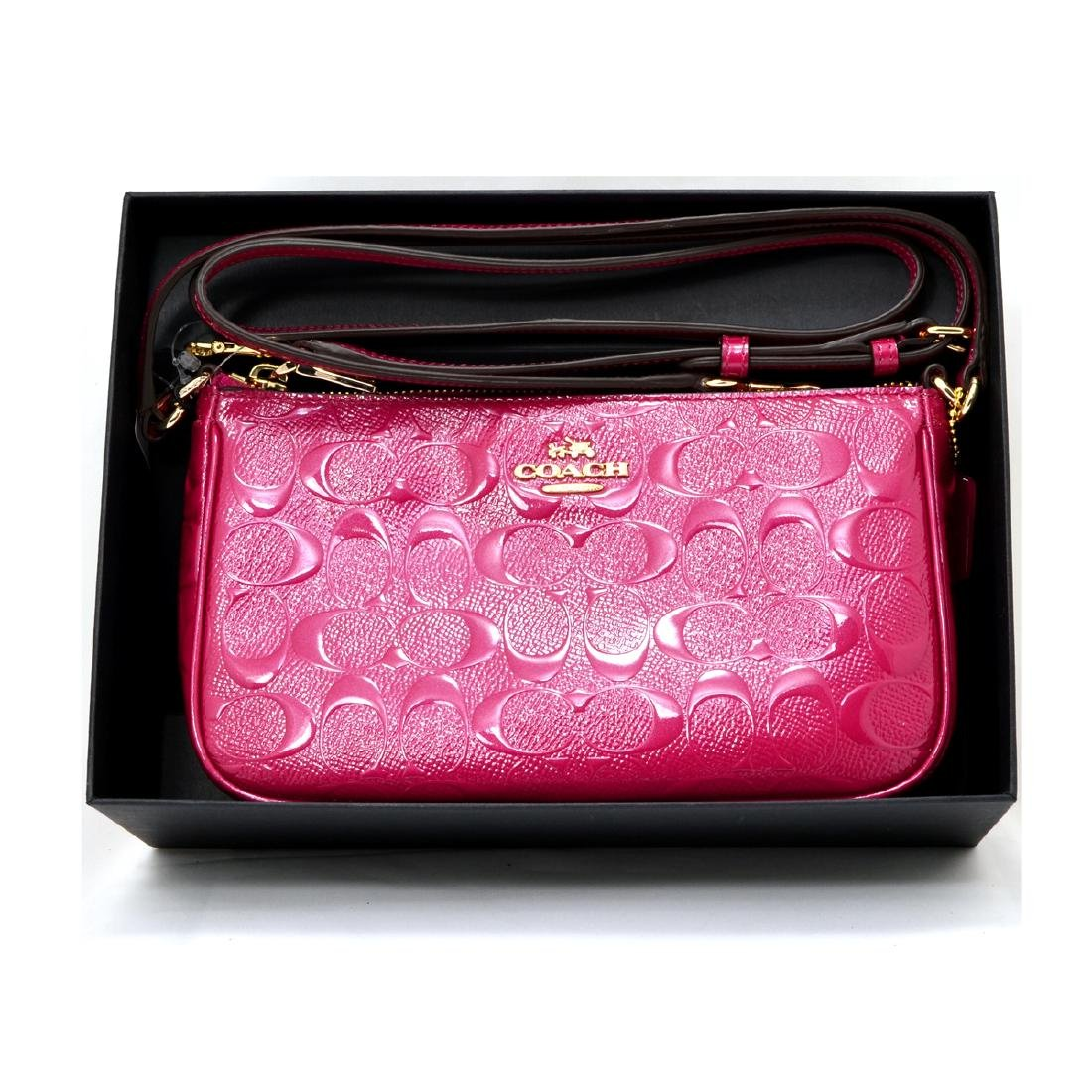Brand New Authentic Coach Gift Boxed Debossed Cranberry