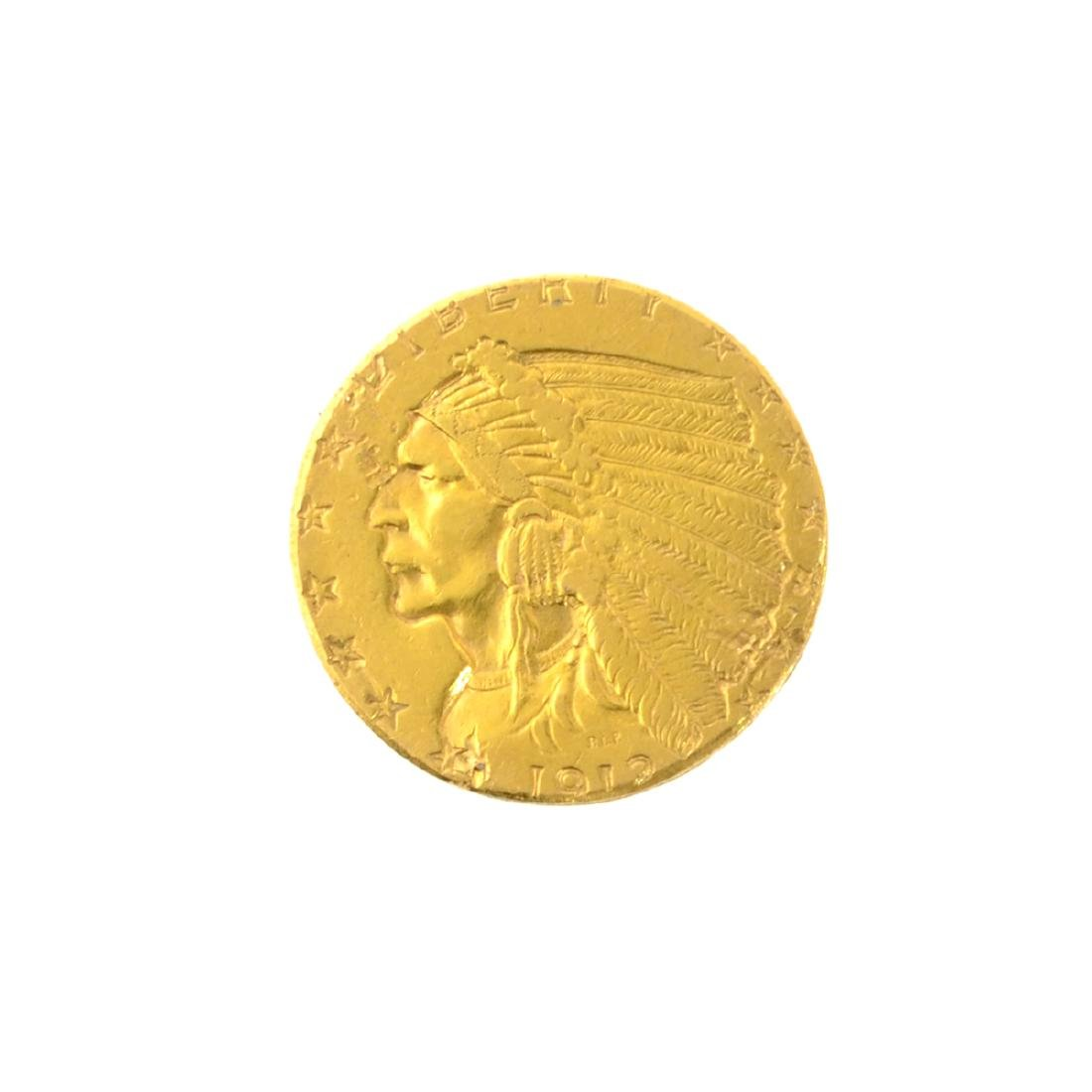 *1912 $2.50 U.S. Indian Head Gold Coin (PS-JWJ)