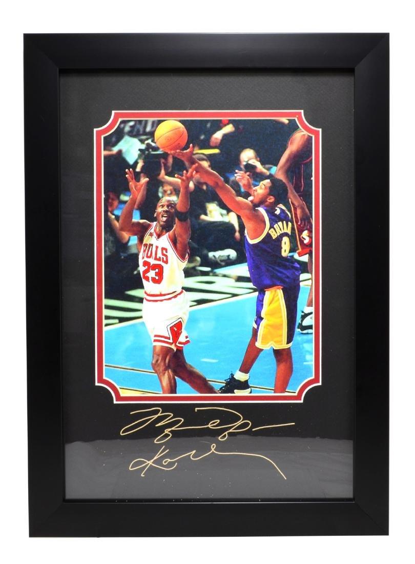 Rare Plate Signed Jordan And Kobe Photo Great