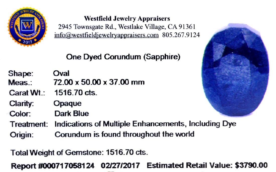 APP: 3.8k Very Rare Large Sapphire 1,516.70CT Gemstone - 2