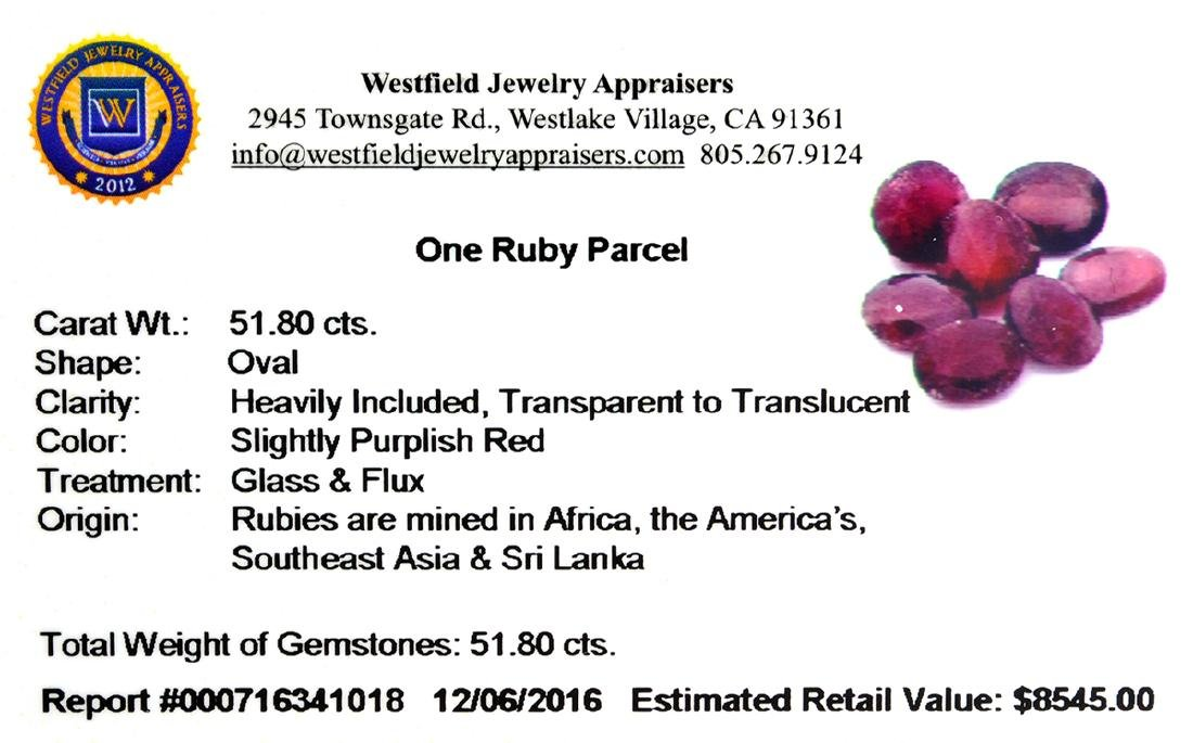 APP: 8.5k 51.80CT Oval Cut Ruby Parcel - 2