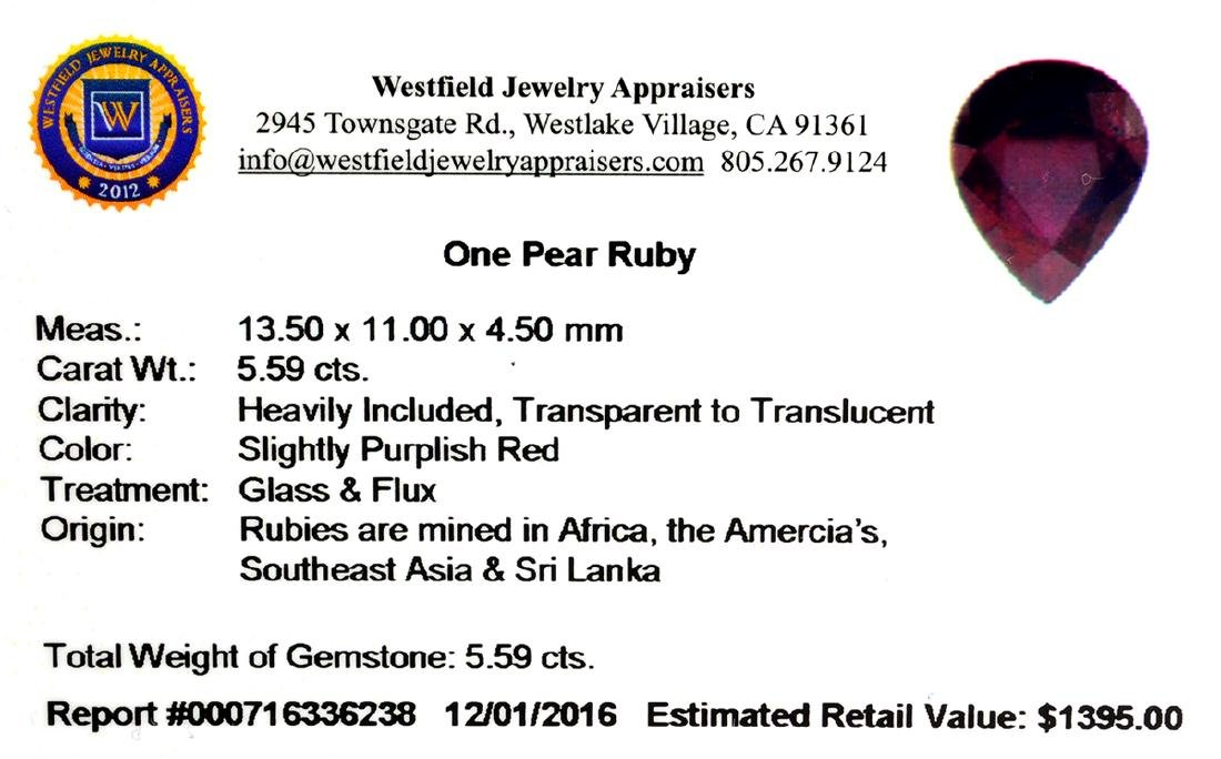 APP: 1.4k 5.59CT Pear Cut Ruby Gemstone - 2