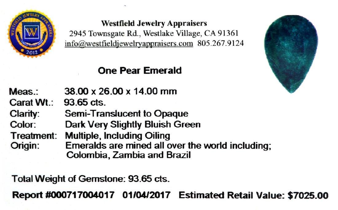 APP: 7k 93.65CT Pear Cut Green Emerald Gemstone - 2