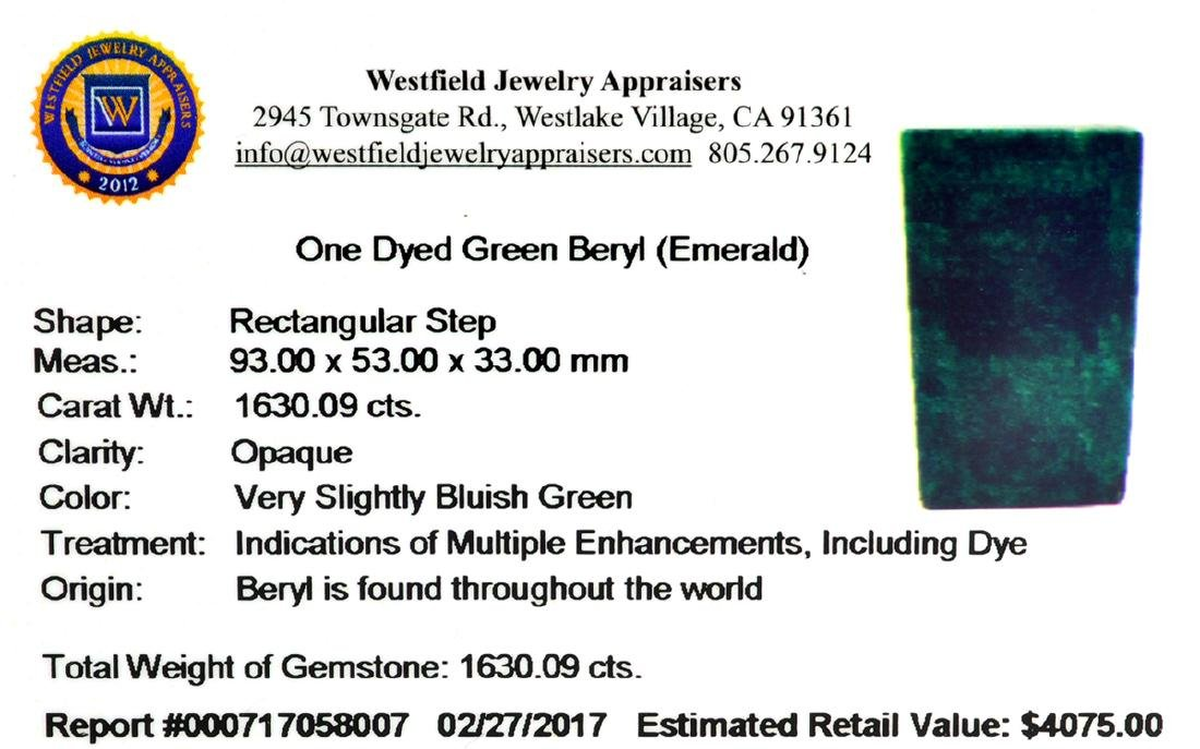 APP: 4.1k Very Rare Large Beryl Emerald 1,630.09CT - 3