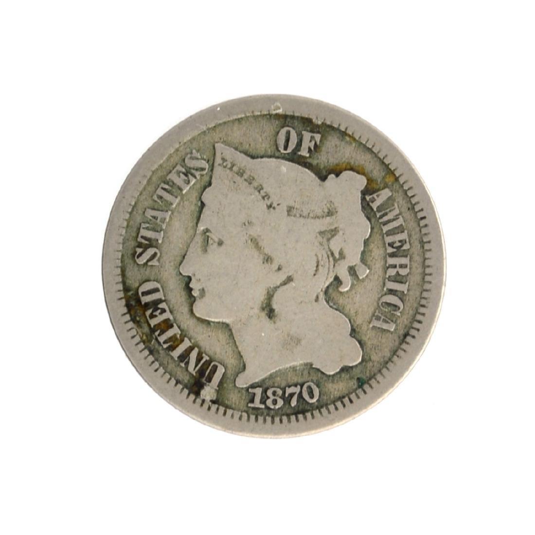 1870 Three-Cent Nickel Coin