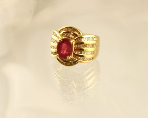 1323: APP.: $10.9K, 2.55CT Ruby and 1.30CT Diamond Ring