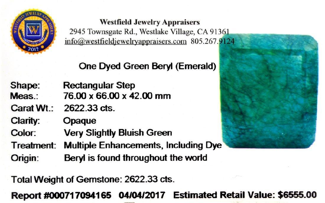 APP: 6.6k 2,622.33CT Rectangular Step Cut Green Beryl - 3