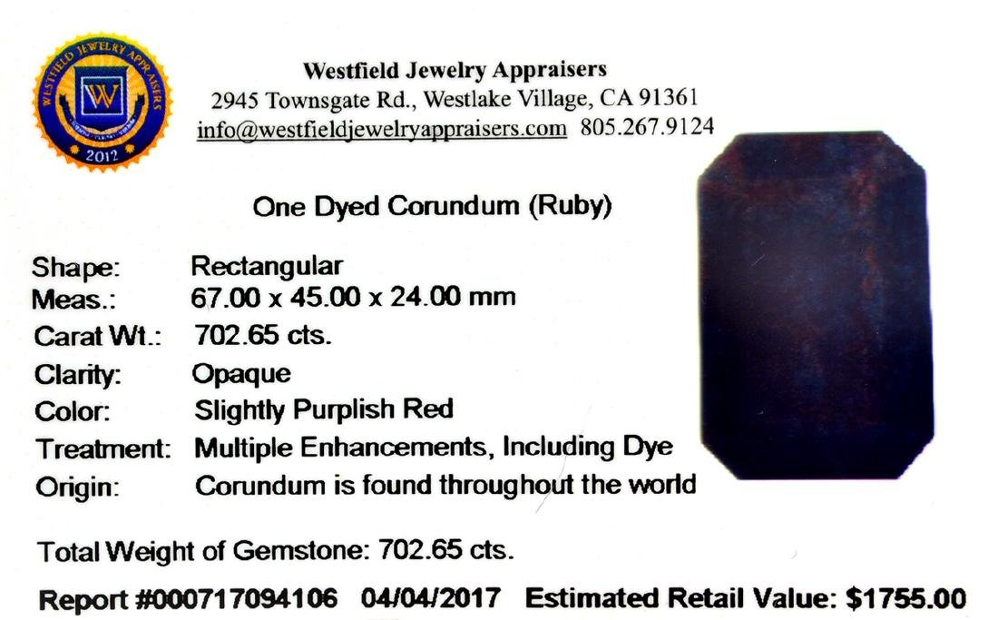 APP: 1.8k 702.65CT Rectangular Cut Ruby Gemstone - 3