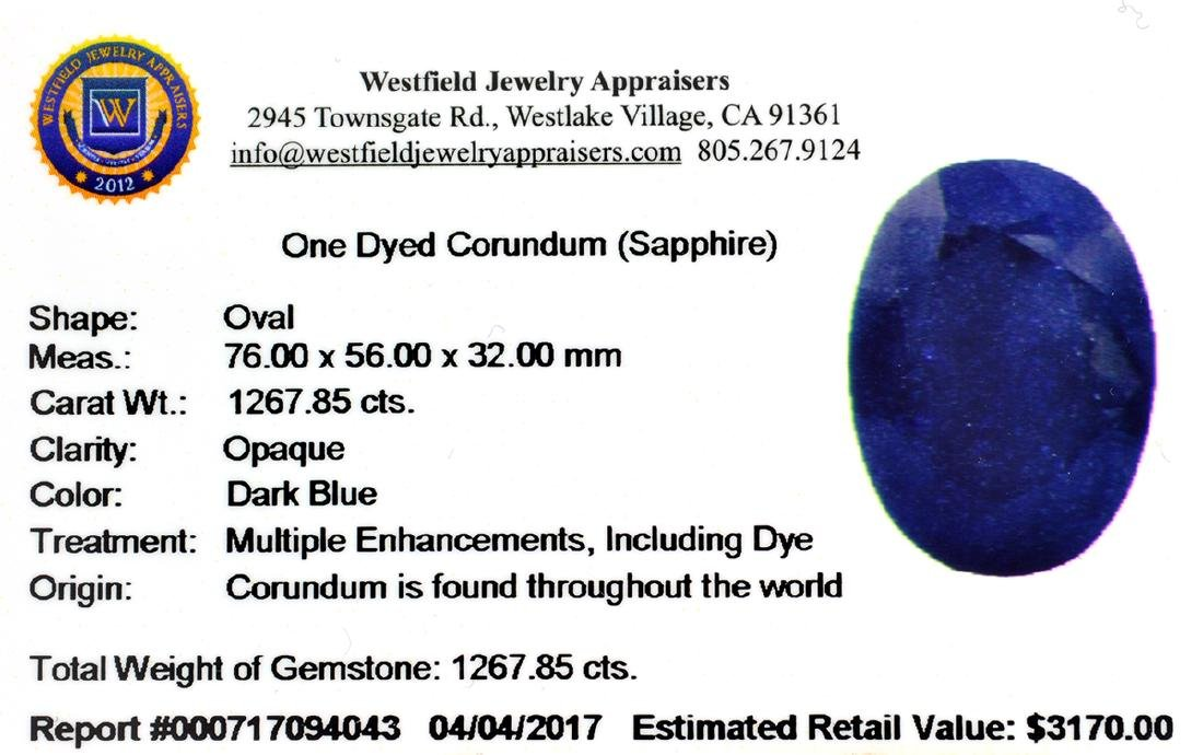 APP: 3.2k 1,267.85CT Oval Cut Blue Sapphire Gemstone - 3
