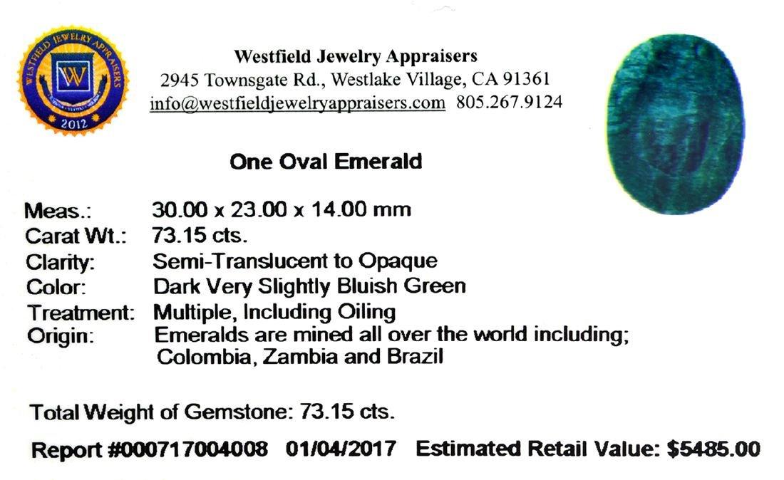 APP: 5.5k 73.15CT Oval Cut Green Emerald Gemstone - 2
