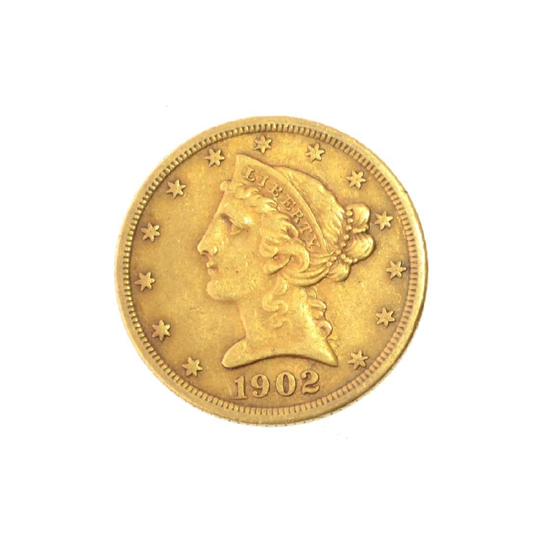 *1902 $5 U.S. Liberty Head Gold Coin (JG-N)