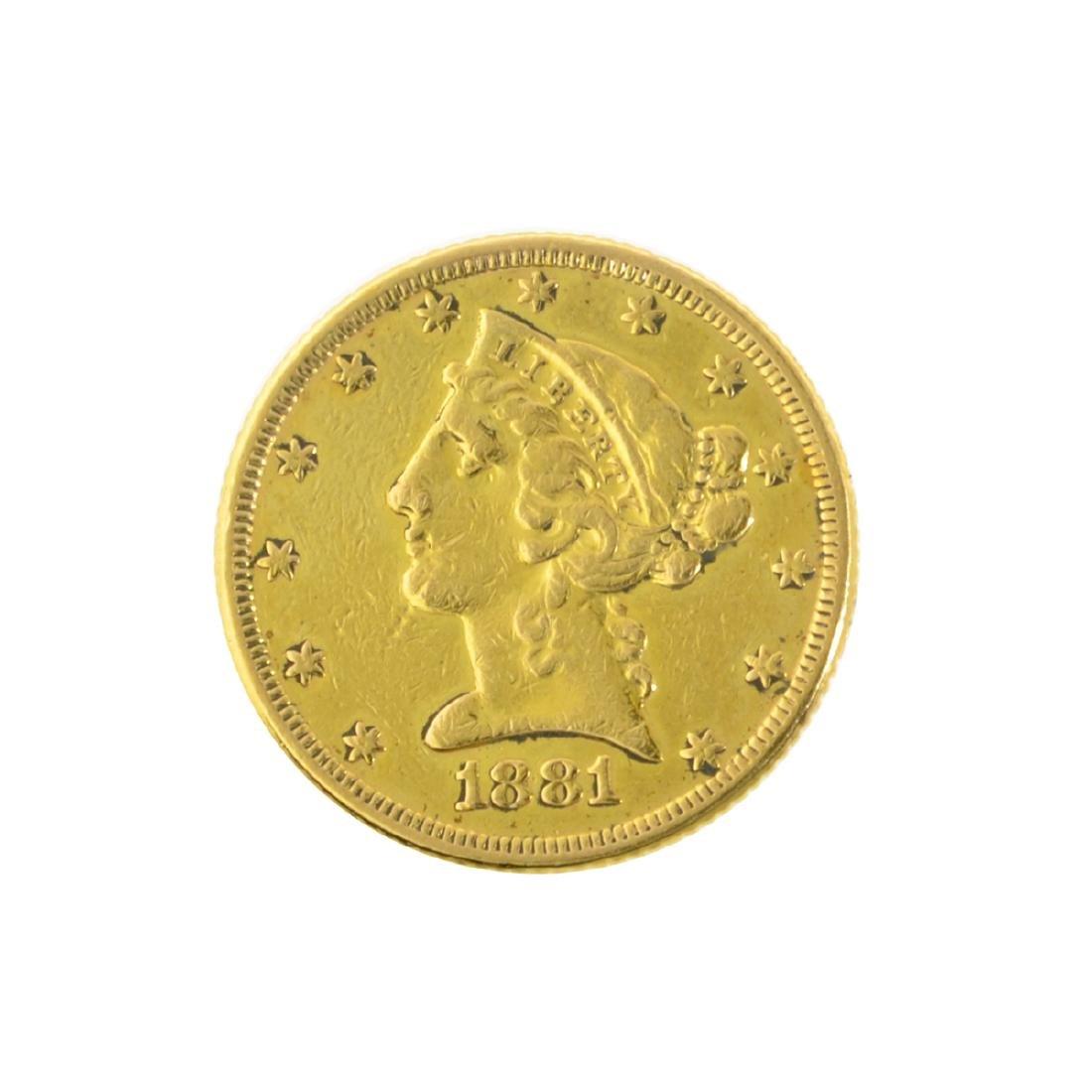 *1881 $5 U.S. Liberty Head Gold Coin (JG-MRT)
