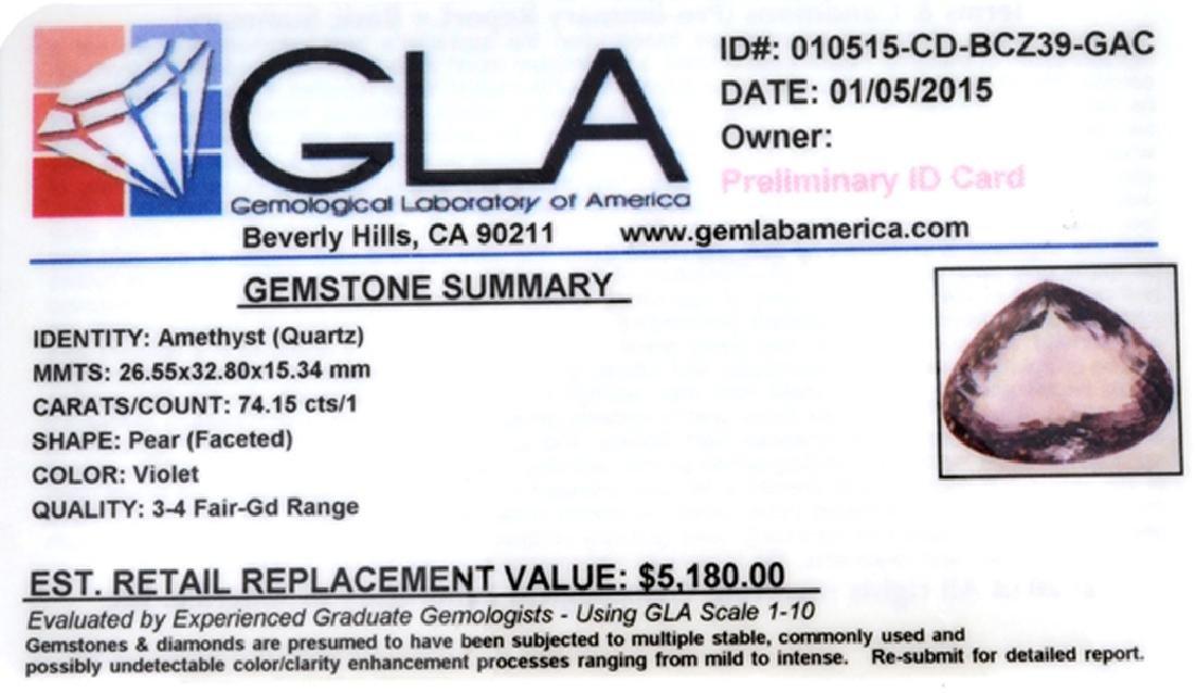 APP: 5.2k 74.15CT Pear Cut Amethyst Quartz Gemstone - 2