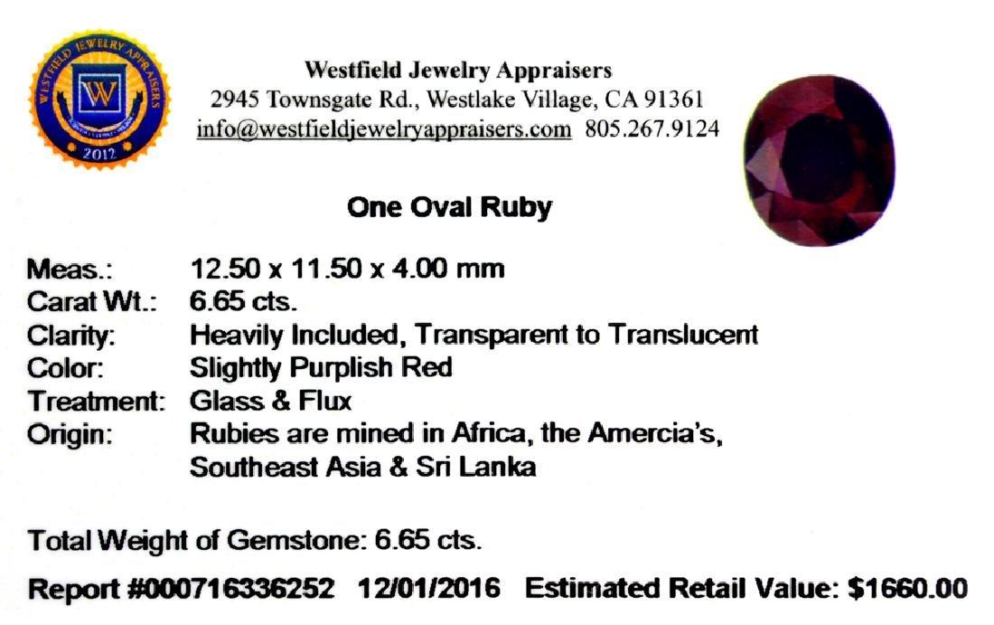 APP: 1.7k 6.65CT Oval Cut Ruby Gemstone - 2