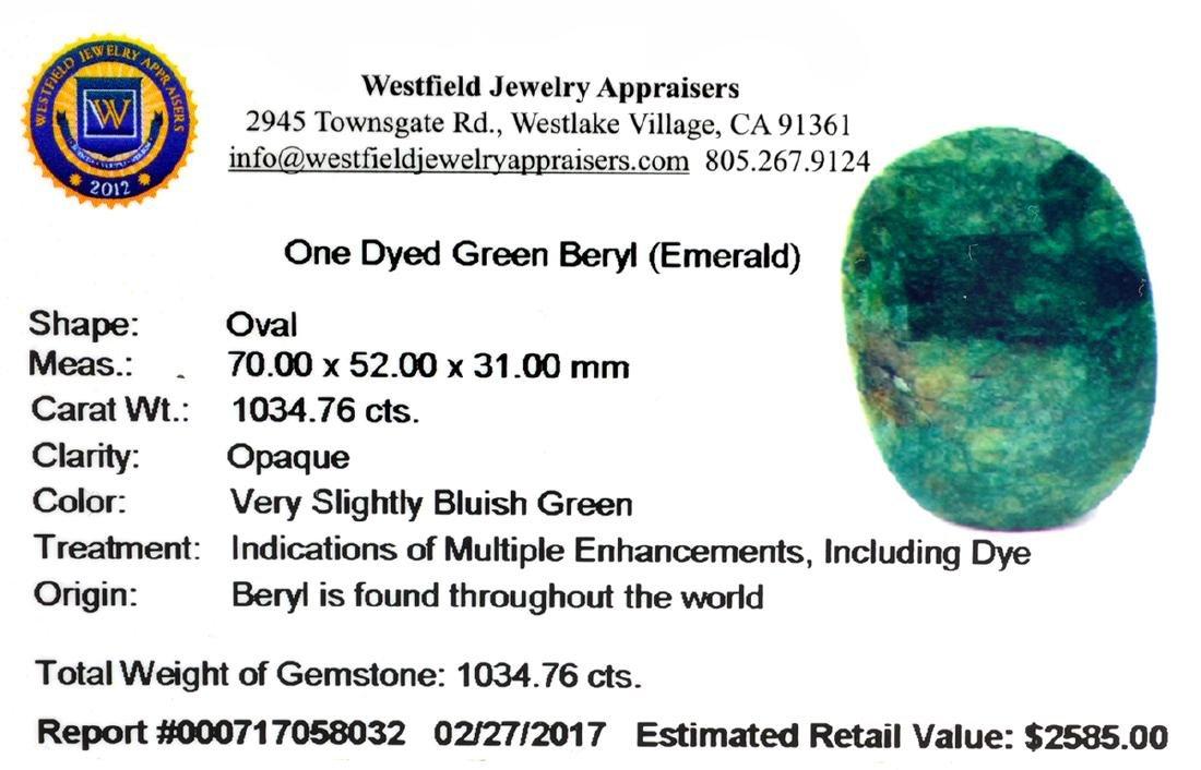 APP: 2.6k Very Rare Large Beryl Emerald 1,034.76CT - 2