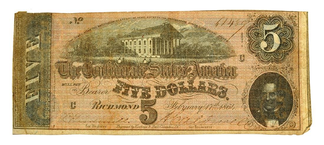 Nice 1864 $5 Confederate Note