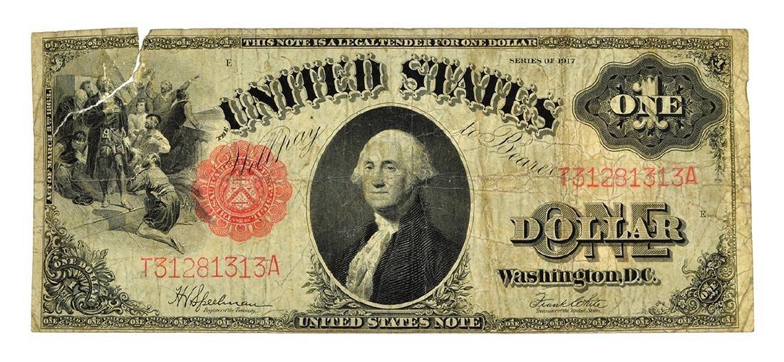 Nice 1917 $1 Red Seal Washington Legal Tender Note